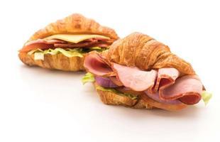 croissant skinka smörgås foto