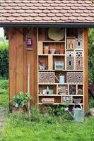 trädgårdsbod med insekthotell foto