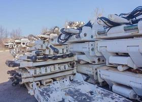 gruvutrustning lagras på gruvgården foto