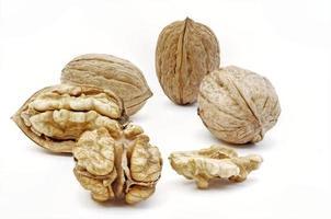 färska valnötter, skalade och oskalade foto