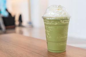 grönt te latte frappe foto