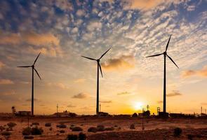 vindgeneratorturbiner sihouettes vid solnedgången foto