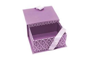 öppnade tom rosa presentförpackning foto