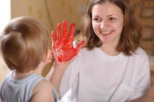 röd hand foto