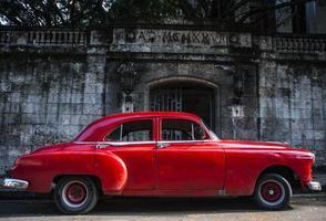 vintage 1950-talets röda bil foto