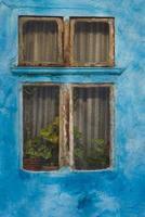blått fönster foto