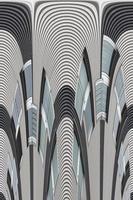 abstrakta fasadlinjer och glasreflektion på modern byggnad.