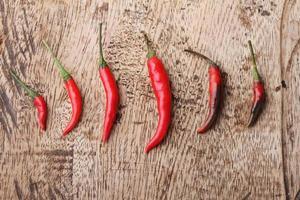 röda chilipeppar växer upp på träbakgrund foto
