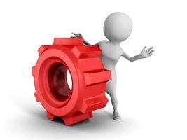 vit 3d man med rött kugghjul mekaniskt redskap foto