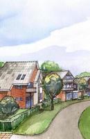 bostadsområde akvarellmålning foto