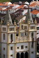 portugal, Azorerna, Terceira. barock kyrkafasad foto