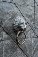 gammal järndörr med lejonhuvuddörrknockare