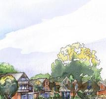 bostadsområde akvarellmålning