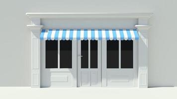 solig butikfront med stora fönster vita butik fasad foto