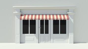 solig butikfront med stora fönster vita butik fasad