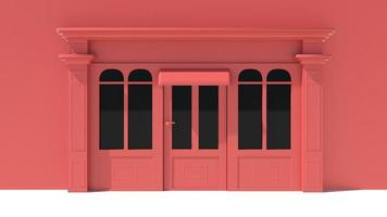 solig butikfront med stora fönster vit och röd butik fasad