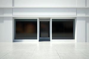 butiksfönster i modern byggnad foto