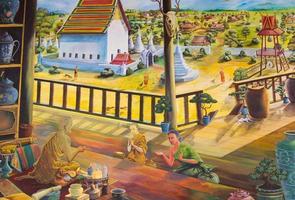 traditionell thailändsk väggmålning på tempelväggen foto