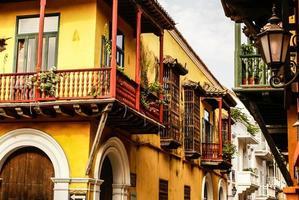 spanska koloniala huset. cartagena de indias, colombias karibbea foto