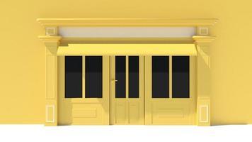solig butik med stora fönster, vit och gul butik