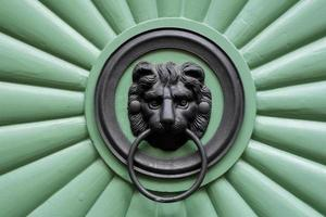 grön dörr med prydnadslejon foto