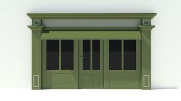 solig butikstrand med stora fönster vit och grön butik fasad