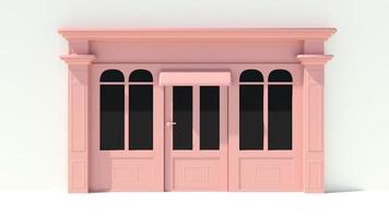 solig butikfront med stora fönster i vit och rosa fasad