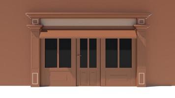 solig butiksfront med stora fönster vit och brun fasad