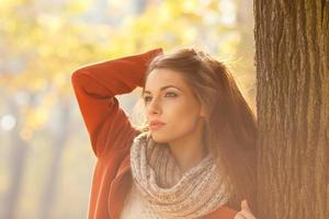 porträtt av en vacker brunettkvinna foto
