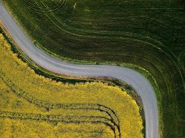 Flygfoto över vägen genom fält foto
