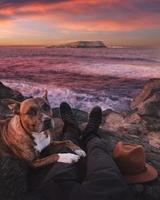 person som sitter på stranden bredvid hunden foto