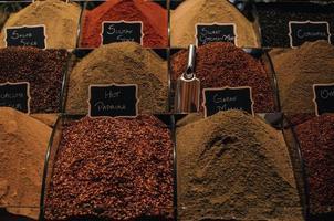 närbild av kryddor till salu