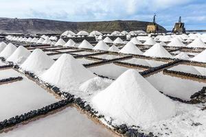 salthögar i saltvattnet från Janubio foto
