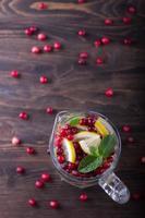 hemlagad saft med tranbär och mynta foto