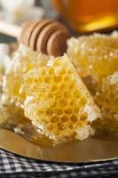 organisk rå gyllene honungskam foto