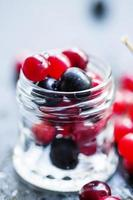 tranbär, bergaska, viburnum, chokeberry i en glasburk foto