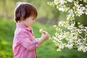 bedårande lycklig unge utomhus på vårdagen i vacker blommande foto