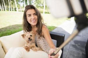 minnen från solig dag med min hund foto