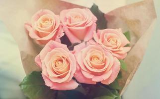 bukett med rosa ros mjuka toner foto