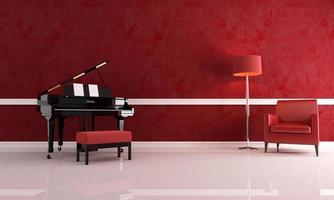 lyxigt rött musikrum foto