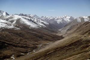 landskap av snötäckta bergskedja foto