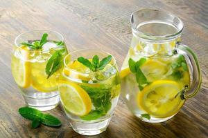 färskt vatten med citron, mynta och gurka foto