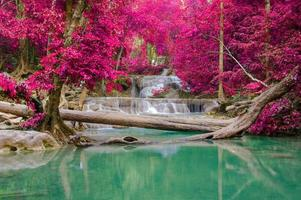 vattenfall i djup skog vid erawan vattenfall nationalpark, foto