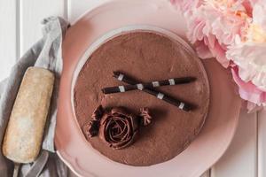 choklad fondant tårta foto