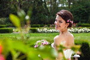 porträtt av vacker brud foto