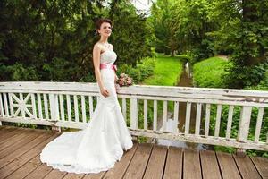 fantastisk fairy brud parkerar på bron foto