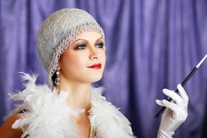retro flapper stil kvinna foto
