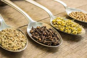 kryddnejlika, kamomill och andra örtte-ingredienser foto