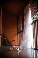 bröllop skor och klänning foto