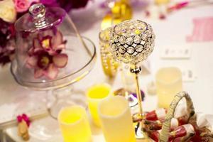 bordsinställning för ett bröllopsmottagande eller ett evenemang foto